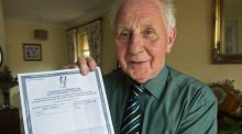 Anthony Lynam, aged 80, who sat and passed the higher English Leaving Cert paper, with his results. Photograph: Dave Meehan