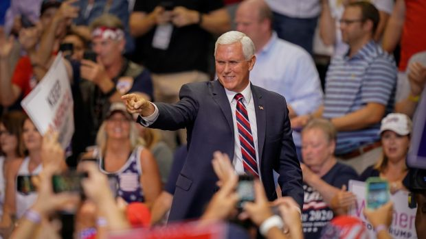 US vice president Mike Pence greets supporters as he arrives at a campaign rally for President Donald Trump in Cincinnati, Ohio, on August 1st. Photograph: Bryan Woolston