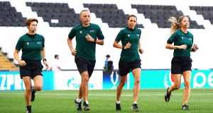 Assistant referee Michelle O'Neill of Ireland, fourth official Cuneyt Cakir of Turkey, main referee Stephanie Frappart of France and assistant referee Manuela Nicolosi of France, run during a training session ahead of Uefa Super Cup at the Besiktas Park in Istanbul. Phopto: Uefa