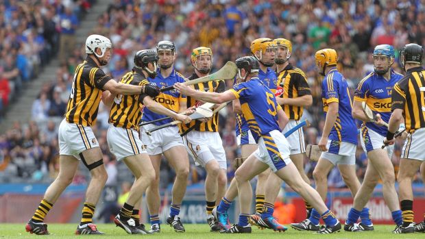 A fight breaks out in the opening minutes during the game against tipperary in 2012. Photo: Lorraine O'Sullivan/Inpho