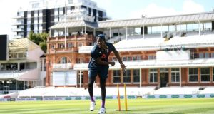 Jofra Archer of England bowls during a nets session at Lord's on Tuesday. Photograph: Gareth Copley/Getty Images