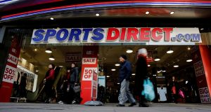 Shares in Sports Direct, which has expanded beyond its sportswear foundations to include retailers such as struggling department stores group House of Fraser, fell 4 per cent in early trade. Photograph: Simon Dawson/Reuters