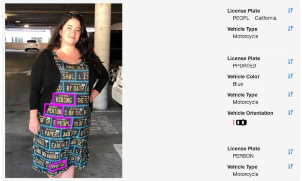The Adversarial fashion dress as seen by an automatic licence-plate-reader system. Photograph: Kate Rose