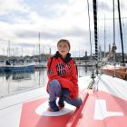 Swedish climate activist Greta Thunberg  on board the Malizia II  yacht at the Mayflower Marina in Plymouth on Tuesday, ahead of her journey across the Atlantic to New York where she will attend the UN climate action summit next month. Photograph: Ben Stansall/AFP/Getty Images