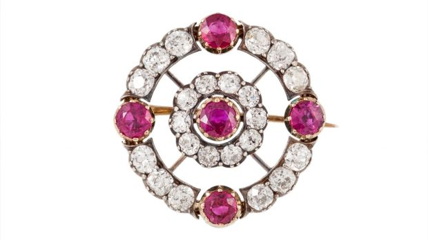 Early 20th century ruby and diamond circle brooch, boxed, with rubies (3.20ct) and diamonds (4.30ct ), €7,500–€9,000 O'Reilly's