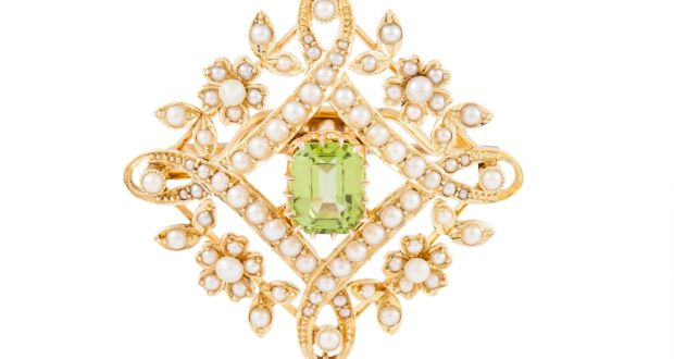 Early 20th century peridot and seed pearl brooch pendant, mounted in 15ct gold €800–€900 at O'Reilly's, Frances St.