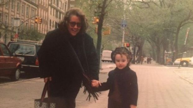 Childhood photograph of Kayle with her mother in New York.