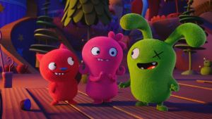 Wang Leehom stars as Lucky Bat, Kelly Clarkson stars as Moxy, and Blake Shelton stars as Ox in UglyDolls. Photograph: STXfilms