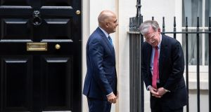 Downing Street cheer: US national security adviser and Brexit-enthusiast John Bolton is greeted by UK chancellor Sajid Javid. Photograph: Chris J Ratcliffe/Getty Images.