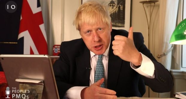 "Boris Johnson during his first  ""People's PMQs"" session on Facebook  at  Downing Street. Photograph: Downing Street/PA Wire"