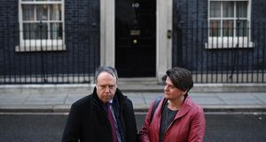 DUP leader Arlene Foster and the party's leader in the House of Commons, Nigel Dodds, on Downing Street. Photograph: Leon Neal/Getty