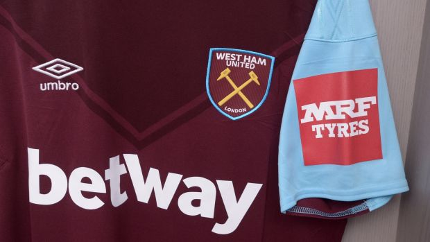 The club shirt of West Ham United. Half of the shirts worn by this season's Premier League teams will be emblazoned by betting company logo. Photograph: Arfa Griffiths/West Ham United FC via Getty Images