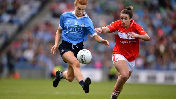 Dublin's Lauren Magee and Cork's Shauna Kelly in action during last year's TG4 All-Ireland Ladies senior football final at Croke Park. It was the most attended women's final in the world in 2018. Photograph: Dara Mac Dónaill