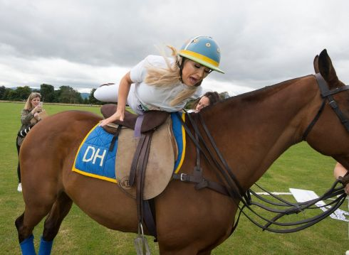 POLO: Erin McGregor climbs aboard Annalita in the Phoenix Park to promote International Ladies Polo Day, which starts on September 5th. Photograph: Dave Meehan/The Irish Times