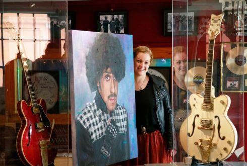 MUSICAL SOULS:  A new exhibition, Heart and Soul: Portraits of Irish Musicians, opens on the evening of Wednesday, August 14th at the Irish Rock n' Roll Museum/The Button Factory and runs until January 2020.  Pictured is artist Claire Guinan with her portrait of Phil Lynott. Photograph: Nick Bradshaw/The Irish Times