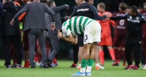 Hatem Abd Elhamed of Celtic reacts at full time during the Uefa Champions League on Tuesday.  Photograph:  Ian MacNicol/Getty Images