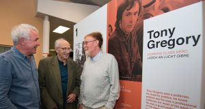 At the opening of an exhibition celebrating  Tony Gregory  were his friends and fellow activists Mick Rafferty and Fergus McCabe, with Tony's brother, Noel (centre). Photograph: Dave Meehan