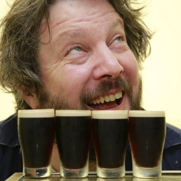 Patrick Freyne and some mini pints ready for tasting. Photograph: Nick Bradshaw