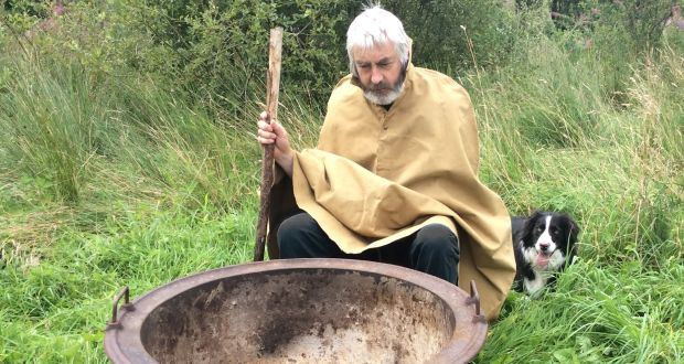 Spud!: Kevin McAleer with his Famine pot. Photograph: Valerie Whitworth