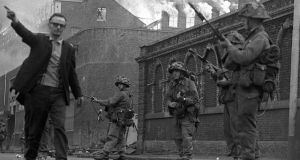 British soldiers patrol in Derry on August 15th, 1969, after being deployed to end the Battle of the Bogside. Photograph: Independent News and Media/Getty Images