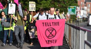 Extinction Rebellion protesters in Birmingham where they intermittently blocked traffic using Bristol Road.  Photograph:  Jacob King/PA Wire