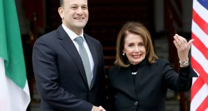 Taoiseach Leo Varadkar and Speaker of the US House of Representatives Nancy Pelosi: Given her  ability to whip votes, few Democrats are likely to break with Ms Pelosi if her demands about the Belfast Agreement are ignored. Photograph: Paul Faith/AFP/Getty