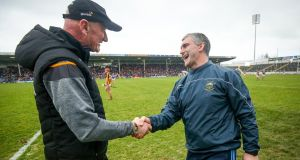 Kilkenny manager Brian Cody shakes hands with his  Tipperary counterpart  Liam Sheedy after the Allianz Hurling League  game at  Semple Stadium back in February. Photograph: Oisín Keniry/Inpho