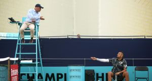 Nick Kyrgios launched an expletive-ridden rant at  Irish umpire Fergus Murphy at Queens in June after missing a set point against Roberto Carballes Baena. Photograph:  Alex Pantling/Getty Images