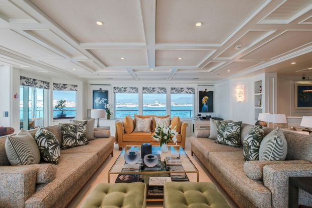 Inside the yacht Mosaique, designed by Bryan O'Sullivan Studio