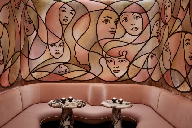 The snug in the Berkeley Bar by the American artist TM Davy. The bar was designed by Bryan O'Sullivan Studio