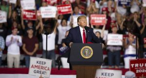 US president Donald Trump at a rally in Manchester, New Hampshire, on Thursday. Photograph: Elizabeth Frantz/Bloomberg