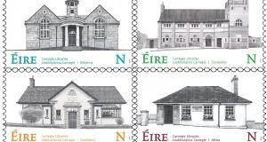 An Post has unveiled four stamps to honour the contribution of the Scottish-born philanthropist Andrew Carnegie who funded 66 libraries in Ireland