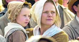 Alicia Turner as Sarah and Maxine Peak as Nellie in a scene from Mike Leigh's 2018 film, Peterloo. Photograph: Amazon Studios.