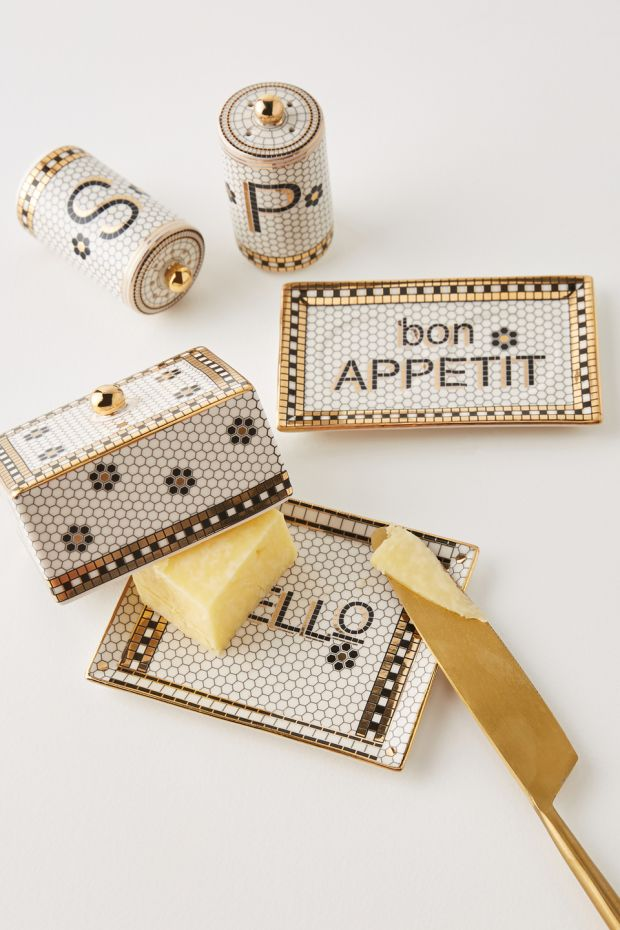 Anthropologie: bistro-style salt-and-pepper shakers and butter dishes