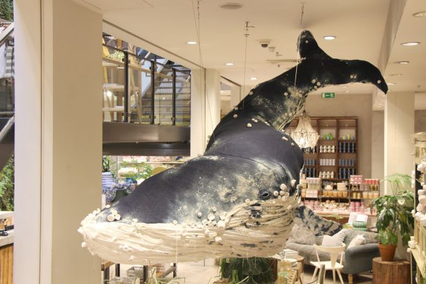 Anthropologie: a whale dominated the Regent Street store in London