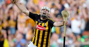 Kilkenny's Pádraig Walsh celebrates at the full-time whistle of the  All-Ireland hurling semi-final against Limerick at Croke Park. Photograph: Oisín Keniry/Inpho