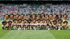 The Kilkenny squad ahead of their quarter-final win over Cork. Photograph: Laszlo Geczo/Inpho