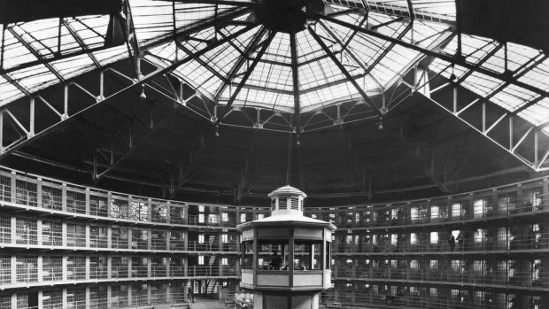 The prison with its circular cell layout and the central guard tower at Stateville Correctional Center, Illinois, follows the panopticon design by British philosopher and prison reformer Jeremy Bentham. Photograph: Underwood Archives/Getty Images