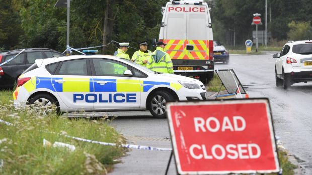 The police scene where police officer Andrew Harper was killed in Berkshire. Photograph: Facundo Arrizabalaga/EPA