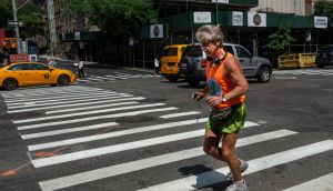 Tom McGrath, owner of the Black Sheep pub, on a run in New York on August 3rd this year. Photograph: Monique Jaques/The New York Times
