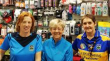 "Owners of ""A Sportsman's Dream"" and ardent Tipp fans Deirdre Hughes and Siobhán Tynan, alongside local woman Helen Leo."