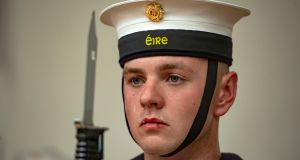 Commodore Michael Malone at the passing out parade of 38 newly qualified Ordinary Ratings, at Haulbowline Naval Base, Co Cork. The 38 recruits have successfully completed 20 weeks of intensive training. They will continue their training prior to being posted to the fleet as Able Rates. Specialised training will include seamanship, gunnery, logistics, communications and mechanical/engineering. Photograph: Michael Mac Sweeney/Provision