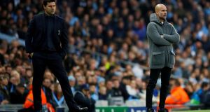 Tottenham manager Mauricio Pochettino and Manchester City manager Pep Guardiola will renew acquaintances at the Etihad Stadium. Photograph: Jason Cairnduff/Reuters