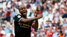 Raheem Sterling: 'When he's in front of the goal, he puts it in the net, so he can do it,' says Guardiola. Photograph: Ian Kington/AFP/Getty