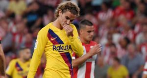 Antoine Griezmann's Barcelona debut ended in defeat in Bilbao. Photograph: Vincent West/Reuters