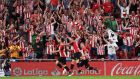 Athletic Bilbao celebrate Aritz Aduriz's late winner against Barcelona. Photograph: Vincent West/Reuters