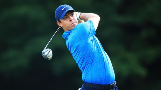 Rory McIlroy is firmly in contention after a second round of 67 at Medinah. Photograph: Andrew Redington/Getty