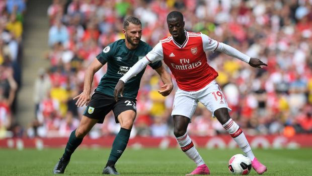 Nicolas Pepe came off the bench for Arsenal against Burnley. Photograph: Michael Regan/Getty