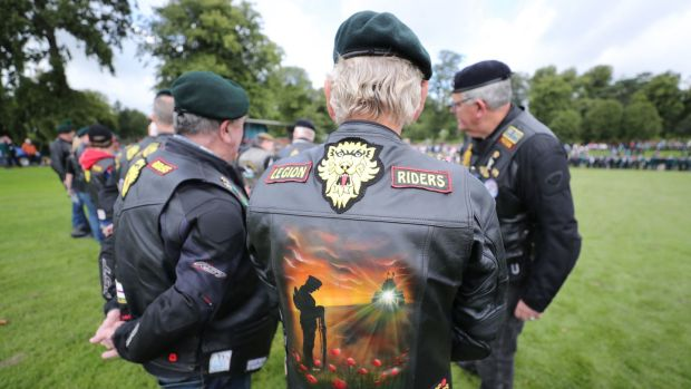 Members of the Royal British Legion Riders branch gather ahead of a drumhead service in Wallace Park, Lisburn, during a Northern Ireland Veterans Association event to mark the 50th anniversary of Operation Banner. Photograph: Niall Carson/PA Wire