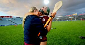 Galway's Tara Kenny celebrates at the final whistle of the Liberty Insurance All-Ireland Senior Camogie Championship semi-final win over Cork at the  LIT Gaelic Grounds in  Limerick. Photograph: Ryan Byrne/Inpho
